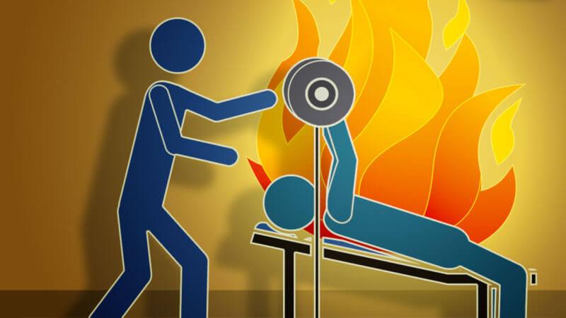 press de banca ardiendo
