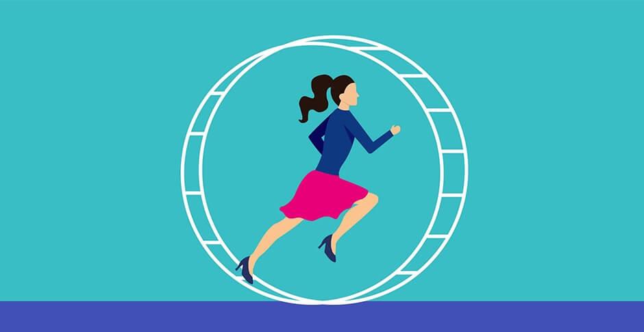 mujer corriendo en rueda